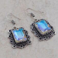 "Antique Earrings 1.68"" Ae 1216 Rainbow Topaz Handmade Drop Dangle"