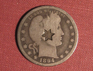 1894-O BARBER QUARTER - COUNTERSTAMPED SIX-POINTED STAR, MODERATE DETAIL!