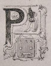 1871:Piacenza, MINIATURA STEMMA ARALDICO CITTA Cento Citta, Ariodante Manfredi.