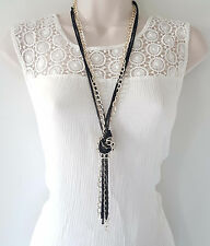 "Gorgeous 26"" long gold tone & black layered - knotted metal chain necklace"