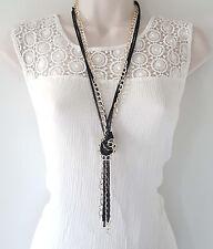"""Preciosa 26"""" largo tono oro y negro en capas-Anudada Collar Cadena de Metal"""