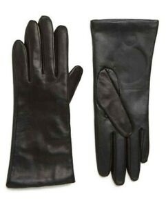 Nordstrom Cashmere Lined Leather Touchscreen Gloves Size 7 Black $99 New NWT