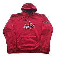 VTG 90s Louisville Cardinals Hoodie Mens XL College University Logo Red Pullover