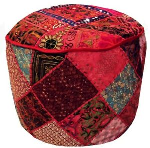 """24"""" KUTCH BANJARA  POUF PILLOW COVER FURNITURE OTTOMAN BENCH FOOTSTOOLETHNIC IND"""