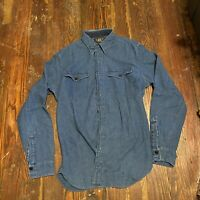RRL Ralph Lauren Double RL Blue Denim Western Shirt Button Front Men's Medium