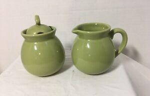 Chantal Green 92-CR/SU9 Sugar Bowl with Lid & 10 oz. Creamer 2003 Dishwasher Saf