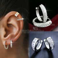 9K GOLD GF LADY MEN GIRL EAR CARTILAGE HELIX SMALL DIAMOND HOOP SLEEPER EARRINGS