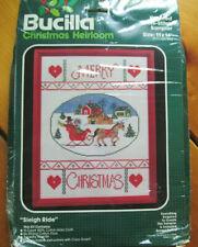 Bucilla Christmas Heirloom Sleigh Ride Kit Counted Cross Stitch Sampler 11 X 14