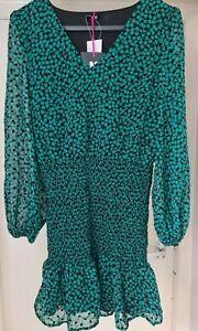 BNWT V By Very Printed Flocked Shirred Waist Dress Green Size 12