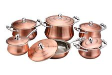 12 PIECE COOK WARE STAINLESS STEEL W/ COPPER FINISHING INDUCTION 18/10