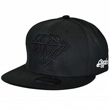 New All Black Diamond Design Flat Peak Snapback Baseball Cap