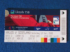 Rugby International Ticket - Wales v Scotland - 18/3/2000