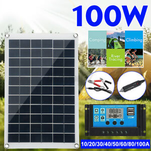 100W Solar Panel kit 12V battery Charger 10-80A Controller For Caravan Van Boat