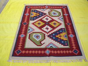 Hand-Woven Geometric Carpet 4x6 Tribal Traditional Kilim Oriental Area Rug Wool
