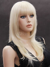 Charming Light Blonde Gold Medium Straight Synthetic Wig Hair For Women