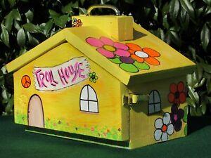Flower Power Hippie Theme Troll House Play Set Yellow Wood OOAK Original