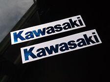 BLUE CHROME KAWASAKI GAS TANK DECALS 2PC SET ninja zx6 zx9 zx10 zx11 zx12 zx14