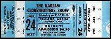 Super Rare Harlem Globetrotters Basketball Show Ticket Fresno CA Jan 24th 1977