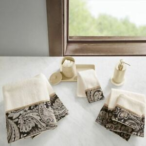 Luxury 6pc Black & Taupe Paisley Cotton Jacquard Bath Towel Set
