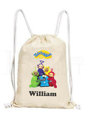 Personalised Childrens Teletubbies Drawstring Canvas Gym/ PE Bag