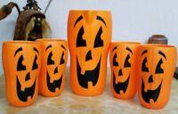 Plastic Pumpkin Orange Jack-O-Lantern Pitcher & 4 Tumblers Halloween Unusual Guc