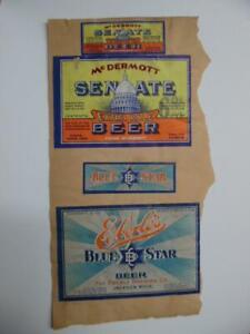 Vintage Beer Bottle Label Lot of 8 Frank McDermott Senate Eberle Blatz Schmidt's