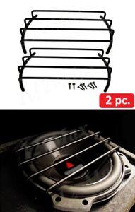Universal 2PC High Excursion Subwoofer Box Grill Matte Black Finish Car Audio