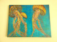 Original Acrylic Painting Beach Jellyfish Marine Life 16x20 Stretched Canvas Art