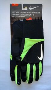 Nike Storm Fit 2.0 MEN'S Running Gloves, Black and Volt Green, Size Small NEW