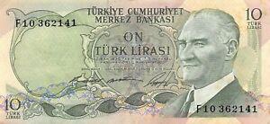 Turkey  10  Lira  ND.1966  Series  F  Circulated Banknote WKsat