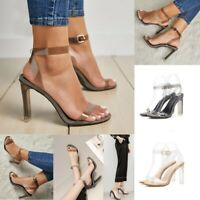 Women Transparent Ankle Buckle High Heels Peep Toe Party Stiletto Sandals Shoes