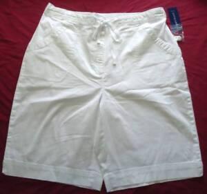 Women's NWT White Khaki Black Cotton Shorts