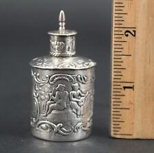 Miniature Antique Hallmarked Continental 930 Silver Repousse Container
