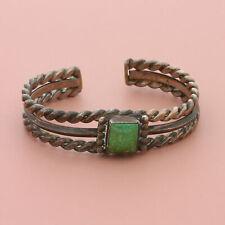 fred harvey era sterling silver navajo cerrilos turquoise cuff bracelet 5.5in