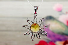 Citrine, Natural Citrine Faceted Round Gemstone Silver Plated Sun Pendant