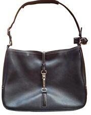 COACH 7751 Classic Hamilton Black Leather Clip Lock Shoulder Handbag Hobo Bag