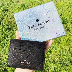 Kate Spade Cameron Lola Slim Card Holder Wallet Leather Grand Flora Pink Glitter