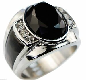 Black CZ Mens Ring 12 Carat with Accents Stainless Steel Size 11 T50