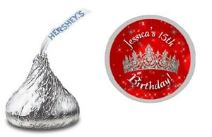 108 RED SILVER PRINCESS TIARA CROWN HERSHEY KISS STICKERS BIRTHDAY PARTY FAVORS