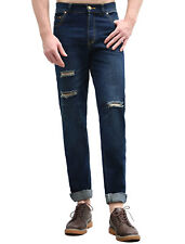 Classic Fit, Straight Regular Jeans Destroyed for Men