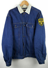VINTAGE 90'S OVERSIZED DENIM JACKET COAT FESTIVAL RETRO CORDUROY COLLAR UK L