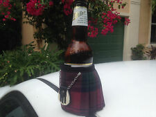 Lindsay Tartan Plaid  Beer Bottle Koozie Kilt With Sporran Fun Christmas Gift