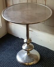NEW MILAN Manhattan  SILVER Metal Round Side Lamp Sofa Plant Table on Pedestal