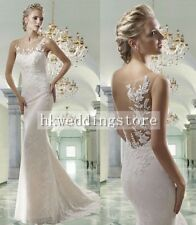 New Lace Boat Neck Mermaid Bride Wedding Dress Made to Measure for a Perfect Fit