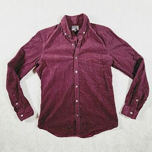 WITCHERY Mens Maroon Corduroy Dot Pattern Long Sleeve Casual Dress Shirt Size S
