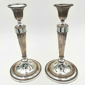 """Fine PAIR GEORGE III OLD SHEFFIELD PLATE Neoclassical CANDLESTICKS c1785 11"""""""