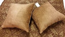 Toffee Diamond and Floral Chenille Tapestry Throw and Handmade Set of Pillows