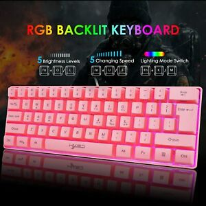 60% Mechanical Gaming Keyboard USB Wired 61 Keys RGB Backlit for PS4 PC Office