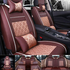 Cooling Mesh&PU Leather Seat Covers Universal 5 Seats Car SUV Front+Rear Cushion