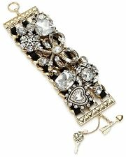 Betsey Johnson ICONIC HEART AND GOLD Bow Crystal Black Gold Tone Bracelet $165